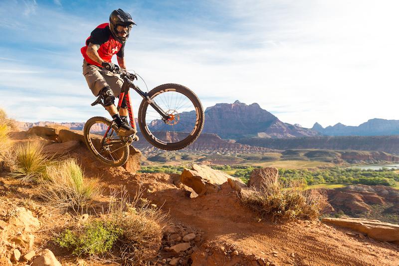 Nate Adams rides the Niner Bikes WFO9 on the Grafton Mesa Trail near Rockville Utah