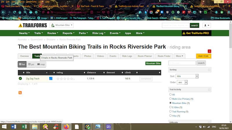 List of trails in Rocks Riverside Park