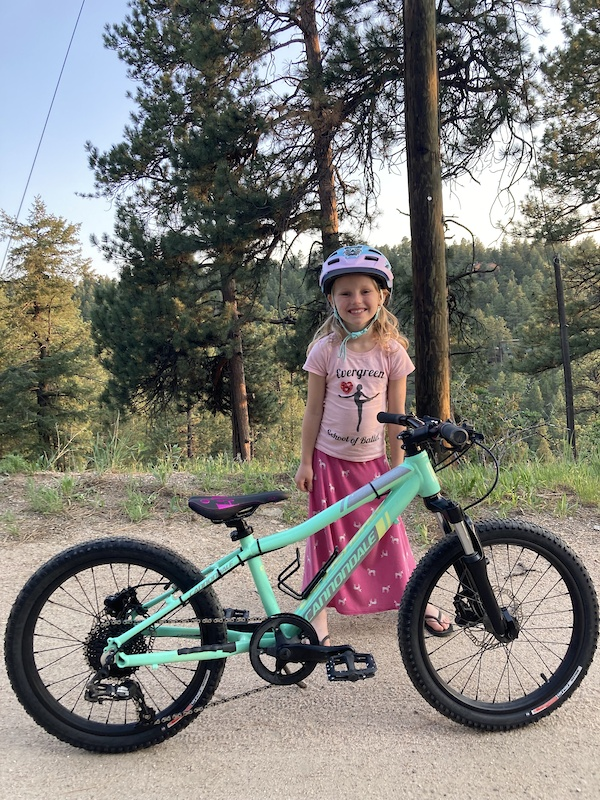 Daughter s custom 20 Cannondale w 85mm coil fork. Butter smooth.