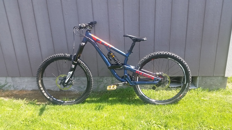 My new 2015 Scott Voltage FR730 Specs Rockshox Lyrik RCT3 180mm travel - - Cane Creek DB Coil 9.5x3 170 190mm adjustable rear travel - - Hope Tech DH rear wheel with Hope Pro 4 hub - - E13 TRS front wheel - - Rockshox Reverb Dropper 150mm - - Shimano SLX brakes - - Shimano Zee 7-Speed shifter and derailleur Sram PG-720 11-25t cassette - - Truvativ Ruktion crankset 165mm - - Answer Rove FR Pedals - - Onza Greina DHC rear tire - - E13 TRS front tire - - WTB Volt saddle - - Spank Spike 50mm stem 35mm clamp - - Giant Connect Bars 780mm - - Wolf Tooth Silicone Grips Bar ends