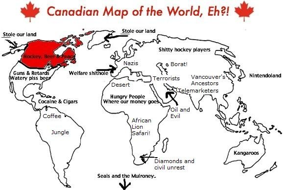 A joke Canadian map of the world.