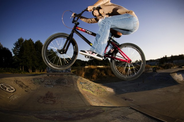 Darcy enjoying her BMX at the park-photo by Mike Zinger
