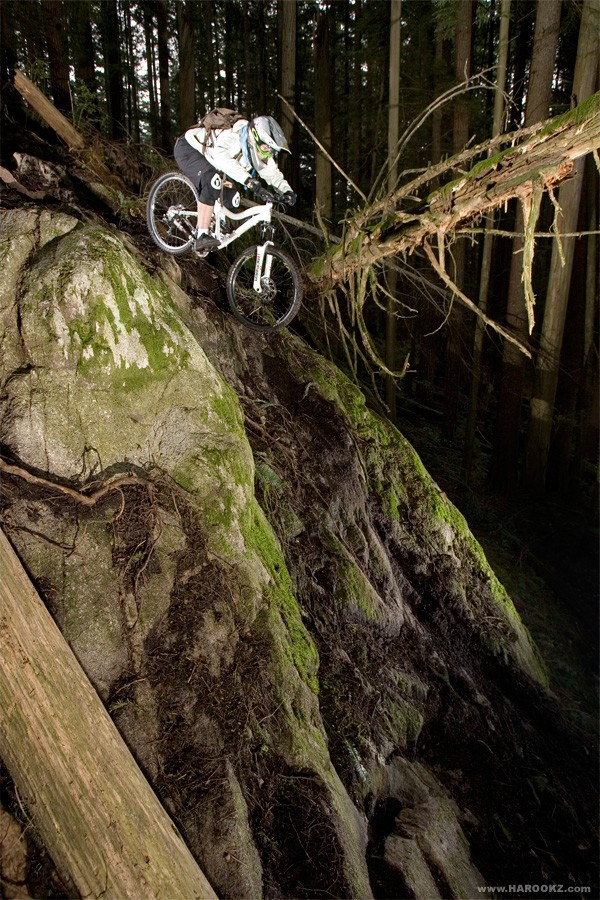 Darcy in the dank forest shooting for the Norco catalog-photo by Harookz