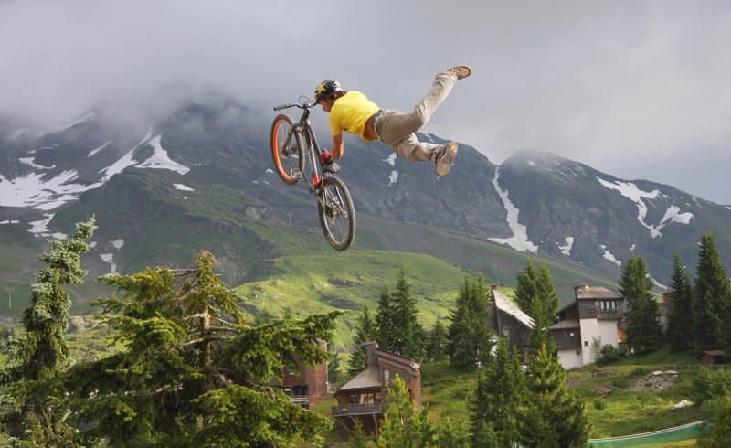 Riders on the DH track at Morzine, or Pro's at the roof and slopestyle comp in Avoriaz