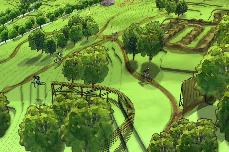Conceptual drawing for the public Valmont Bike Park in Boulder, Colorado.