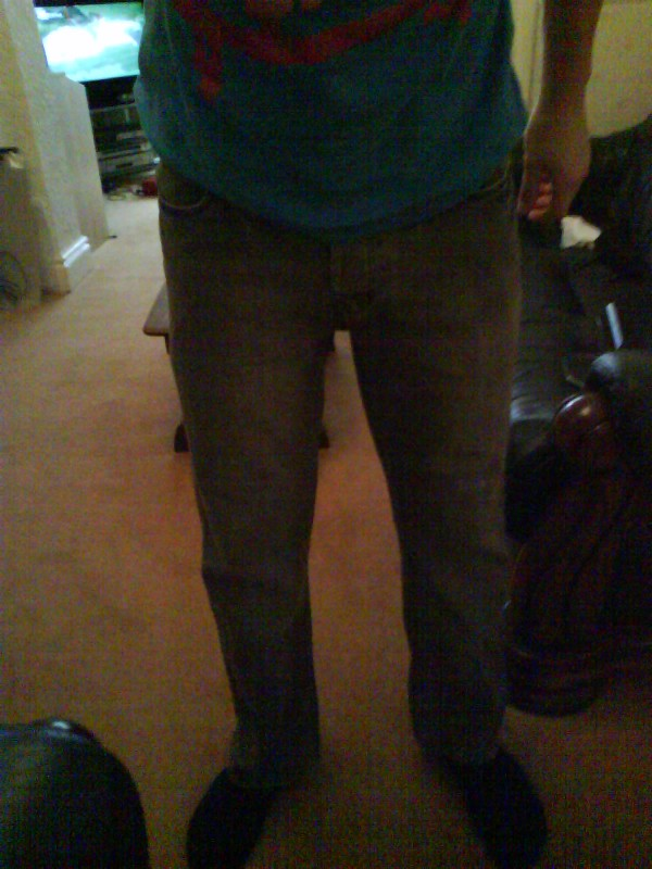 scabby old mahusive jeans befour i made them into skinnys