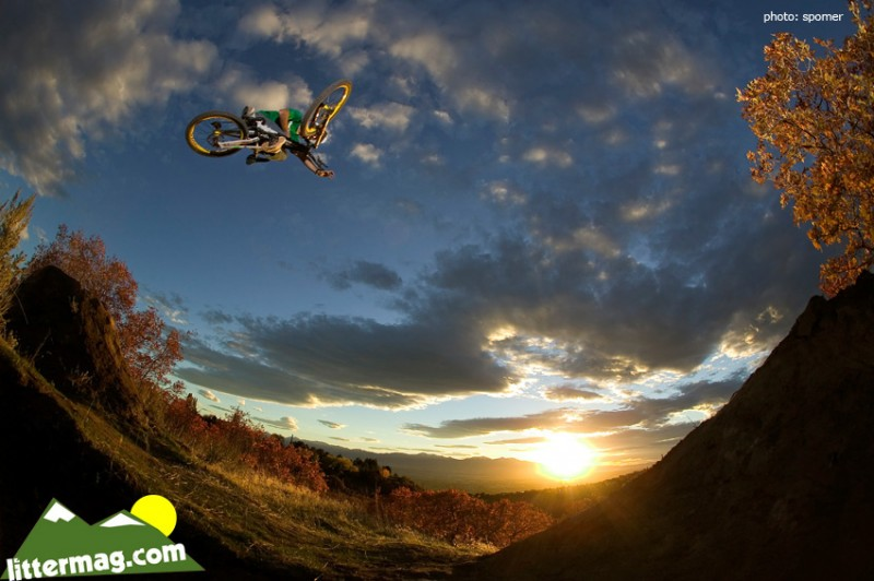 Chris Van Dine blasts a flatty on his downhill bike while filming for Latitudes HD Movie by DH Productions.