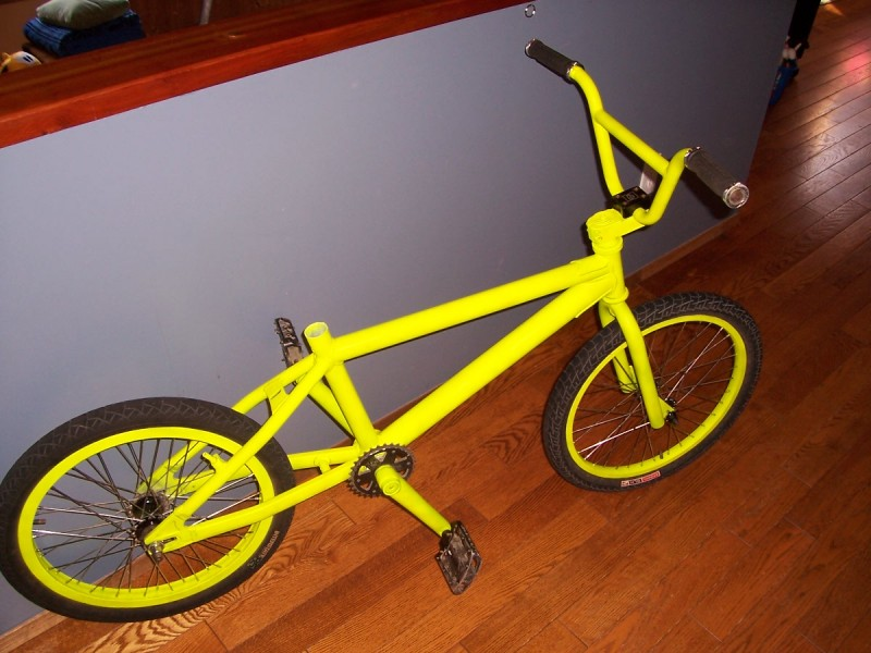 the newly painted bmx, minus the seat and chain