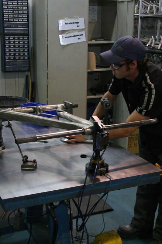 Devinci Factory Tour - checking all frames for straightness and other tolerances.