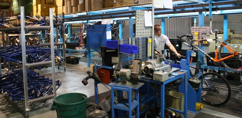 Devinci Factory Tour - Bike assembly line.