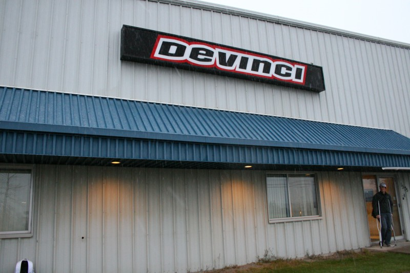 Devinci Factory Tour - Outside the front door as the snow began to fall.
