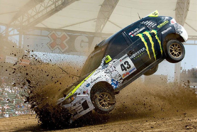 Ken Block destroying his radiator at the XGames.