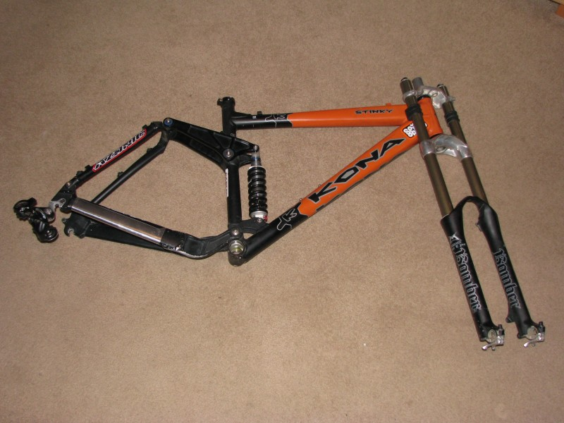 Here's the start of my build. 2004 Kona Stinky 6 inch rear travel. '03 Marzo Super T, Shimano Deore derailer.