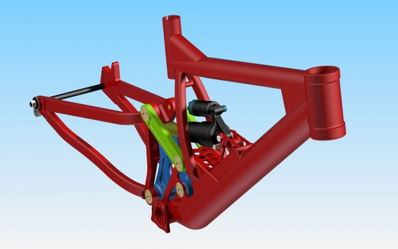 Semi-final version of my concept dh frame - now with 2008 DHX 5.0 air, yes... I bothered to measure and draw the shock, but it didn't actually take very long!................. - And sorry about the bad view angles, I was more interested in showing the detail than the geometry!