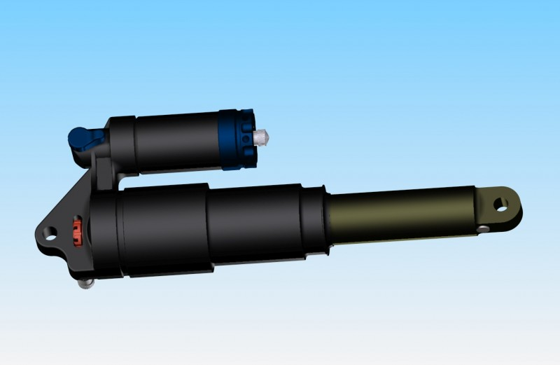 """Basic 3D Model of a 2008 Fox DHX 5.0 air 9.5""""x3"""" - eyelets are wrong diameter as they are the right size for the through bolt, not the hardware. - - - - - - - If anyone wants the model file to use for your own projects then feel free to pm me and I can e-mail it to you!"""