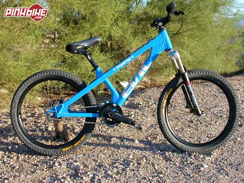 """My completed '03 Evil Imperial. Marz '03 DJ1 with 100mm travel. Cane Creek Double Xc headset. Easton Mg60 stem and Monkeylite DH cabon bar. ODI S&M lock-on grips. Hayes HFX-Mag rear with 6"""" rotor. 24"""" Arrow Racing Launch tires and DHX rims on Hadley Racing 36 spoke hubs. 20mm front & 10mm rear with 108 point engagement. 16t Gussett single-speed kit. Shimano XT chain. Shimano Saint crankset with 34t and E.thirteen bashgaurd.  Azonic A-frame pedals. Diabolus seatpost. Salsa Flip-lock. Azonic Big Drop saddle."""