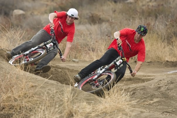 sam hill and brendan taking a berm on their new specialized!