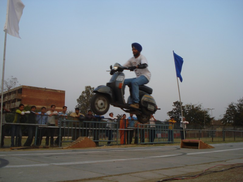 havin fun at the end of a stunt show