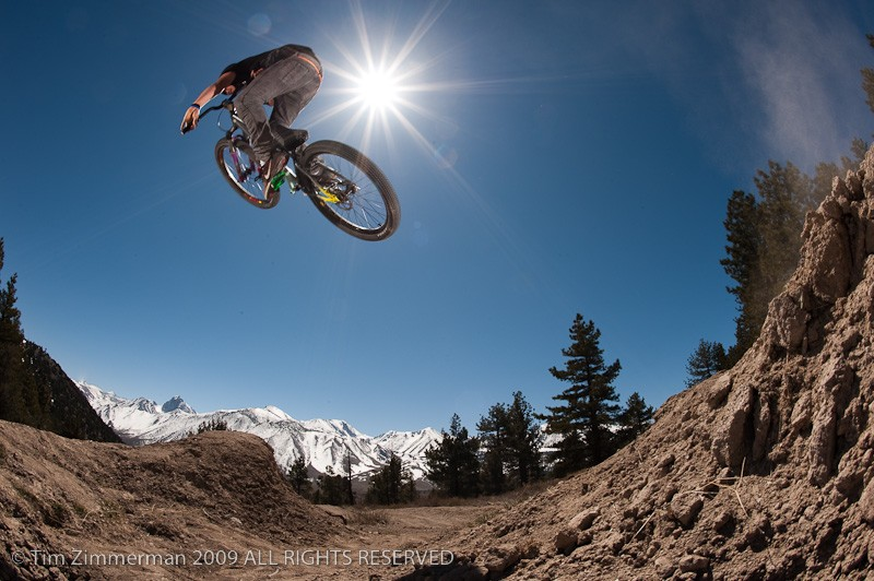 Hitting some sandy-assed dirt jumps in Mammoth Lakes, CA.