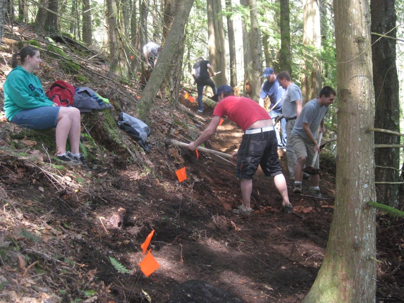 Several Volunteers working to improve one of Vedder Mountain's Trails.