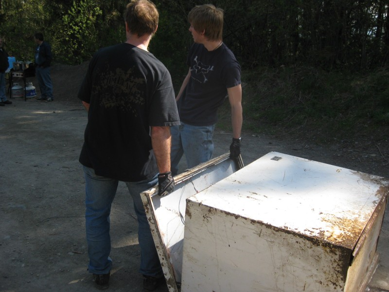 Just one of the many illegally dumped appliances being removed by VMTA volunteers.