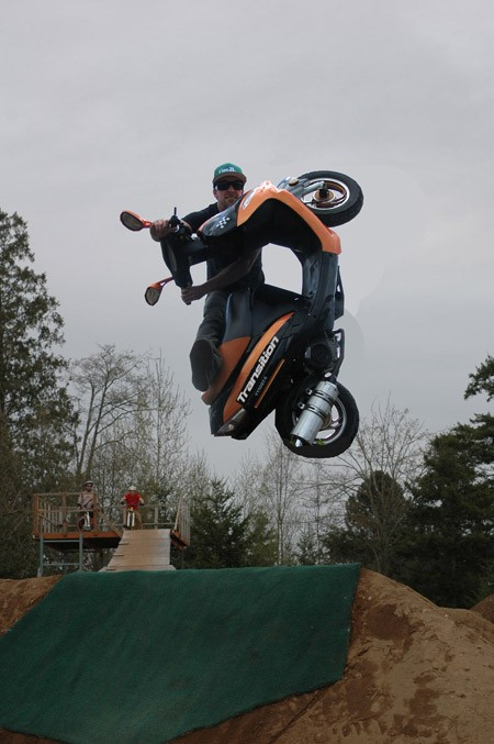 Jeff doing an unturndown on the 50cc scooter!!