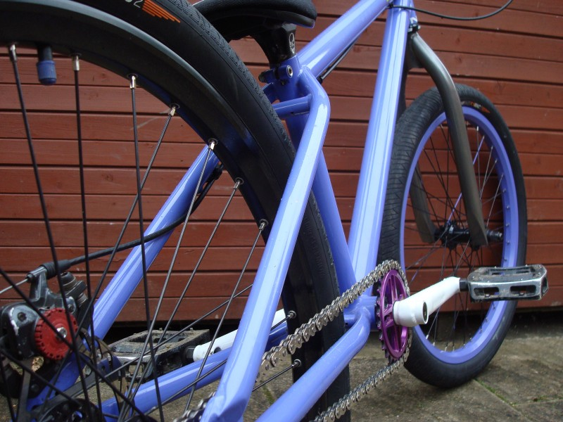 "ns sub with polished fork and painted front rim...on the ""getting rid of white mission because its gay"""