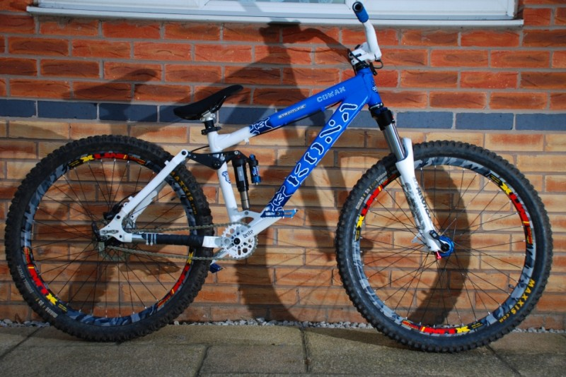 My custom cowan ds. I only had a pair of DH tires at the time of build. Signed by John Cowan on the top tube (not pictured)
