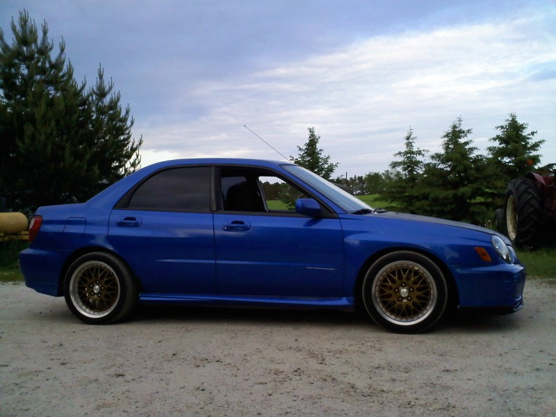 2002 impreza. cnc suspension, tgv deletes, cbm front rad, wiseco pistons and valve springs, eagle cams, brian cower ti retainer set, sbr turbo, garret barrings, hks blow off valve, engine is bored and tuned to 400+ hp to the wheels, its a rocket.