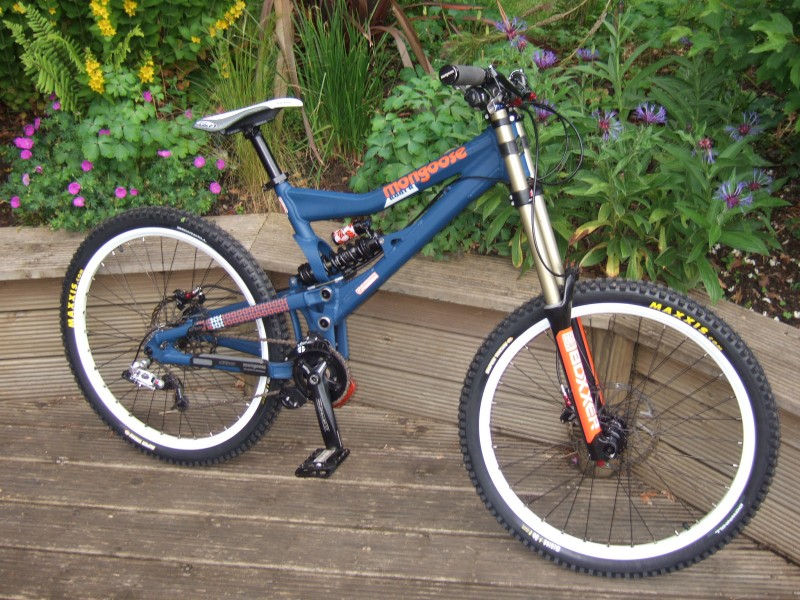 2009 mongoose boot'r team, looks really steep and high but really isnt when youre on it