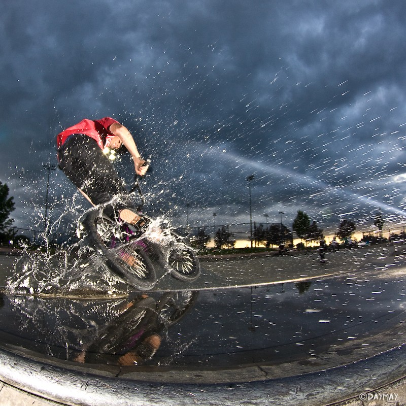 Tire slide on quarter pipe through puddle