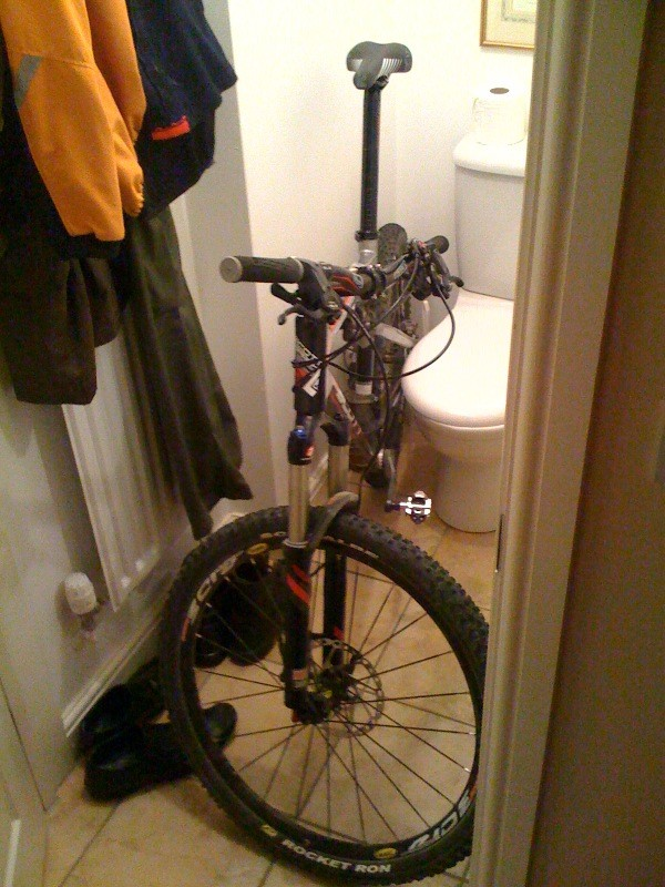 Job done as requested, moved my bike from the hall. What she doesn't know - its hidden in the toilet!