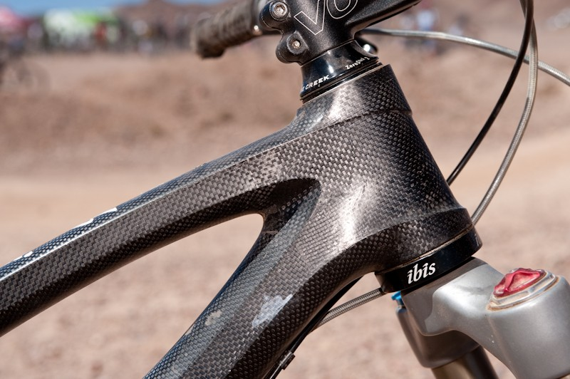 67 degree head angle with a 160mm fork (Brian's been running a 170mm fork, you can also run up to a 180mm).