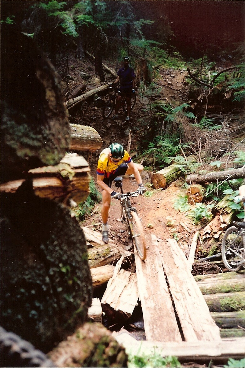 trying to ride a log bridge - wasn't quite as good at it back in 1994...