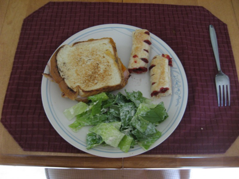 grilled turkey and cheese, Strudel and ceaser.