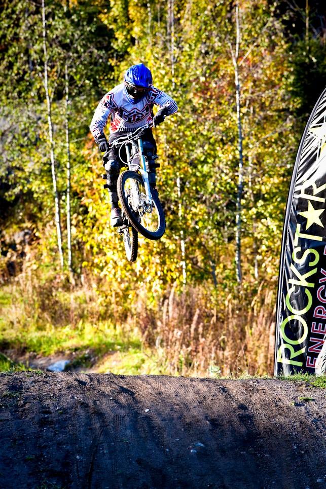 Me jumping big box in Laajavuori.  Photo by tonirutanen.com