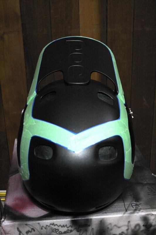 Sneak peaks at the POC helmet that is undergoing a custom Painthouse paint job.