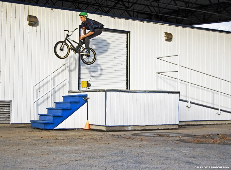 This is Eli Taylor doing a huuuge barspin. The gap was from the loading ramp to just after the stairs. He got it second try.  Eli now rides for Stranger BMX on the Pro Team. Stoked for the kid!  www.joelpilotte.com