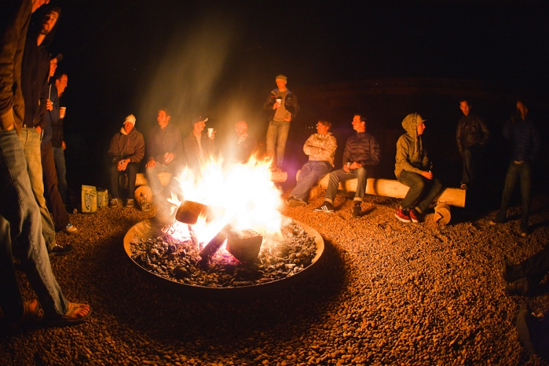 Enjoying a fire on our last night in Moab