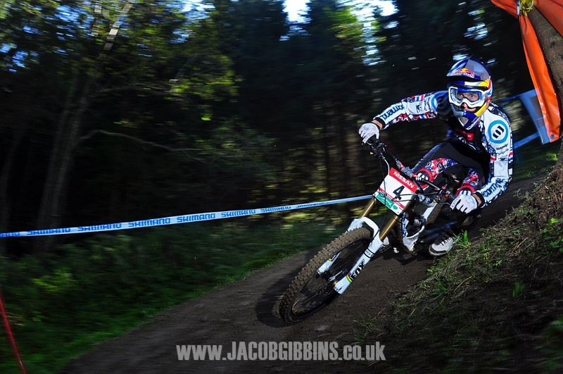 This is a shot of Gee Atherton riding in the 09 world cup finals in Schladming. Lit with 3 flashes I just love the pure speed and focus that is obvious from his position and the panning.  I knew as soon as I pressed the button this would be a good shot.