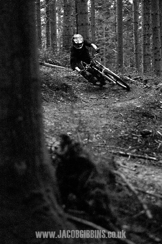 This is a shot taken at 5pm in a British winter in thick pine forest, what I'm trying to say is that it was dark! And I had had a long day riding and just couldn't be bothered with flashes for a few shots of my mate.  So I just cranked up the ISO and got this.  Which I LOVE. One of my fav natural light shots, just the comp, grain, light, rider is all right. The rider is Ash Mullane.