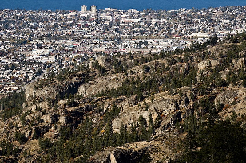 The Skaha Bluffs overlooking Penticton and Okanagan Lake. Penticton is so fresh that no-one's even thought about riding any of these majestic rock lines.