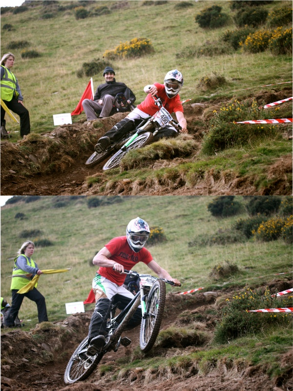 one sick and quick save on one of the slippery berms at the Moelfre race practice.  new edit -http://www.pinkbike.com/photo/4323619/