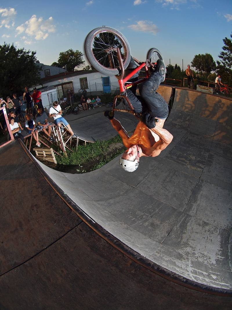 Wethepeople's sponsored rider with a chainless fakie frontflip in Szolnok, Hungary, during our Wethepeople Hungary street tour. He knows no fear, and is tough as nails. photo cred Andras Pentek