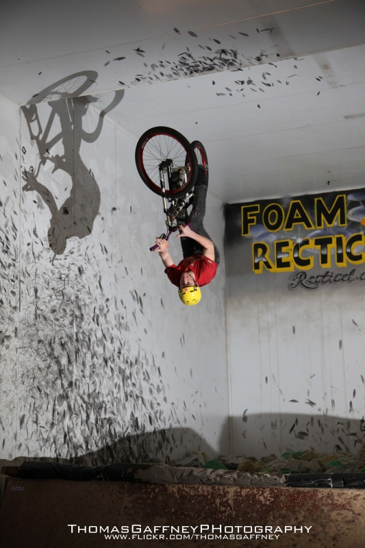 Sam Pilgrim going upside down into Corby's Foam pit - also landed him in MBUK!