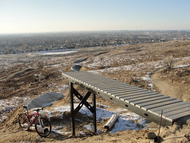 This is the 1st drop out of 3 on the Stormin Mormon freeride trail.  We constructed the drops using galvanized steel with Trex type decking - should be solid for years to come.