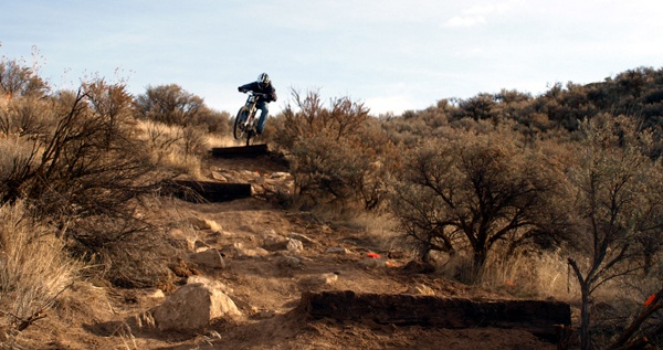 Max Dolar on one of the rock garden/drop zones on the new Shake and Bake downhill trail.