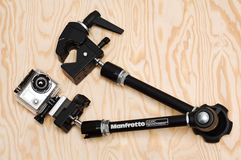 <center>Manfrotto Magic Arm, Superclamp, GoPro, and custom aluminum adapter (plywood optional)</center>