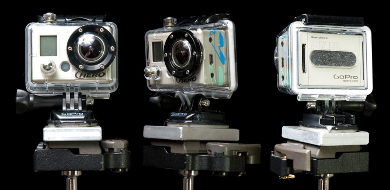 <center>My GoPro: decaled out, posing over a black background, and showing some character marks</center>