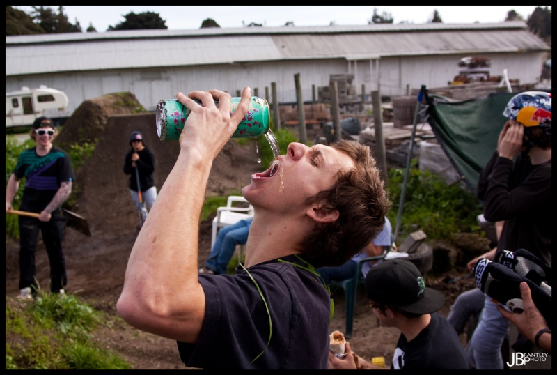 Cob takes a nice fat chug of a tasty beverage after digging a bunch!